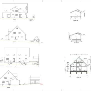 Planauschnitt Ansichten eines Holzhauses geplant durch Zimmerei Steinberger