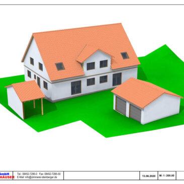 Bild eines 3D Modells eines Doppelhauses mit separater Doppelgarage